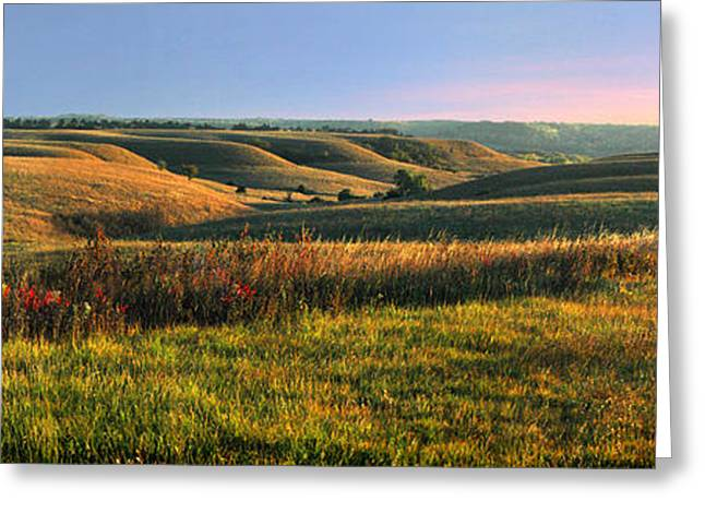 Panoramic Photography Greeting Cards - Flint Hills Shadow Dance Greeting Card by Rod Seel