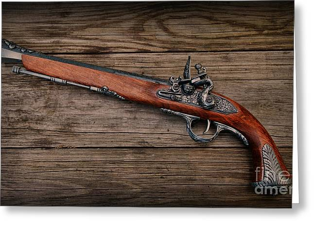 Pirate Ship Greeting Cards - Flintlock Blunderbuss Pistol 1 Greeting Card by Paul Ward