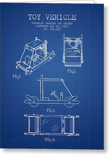 Barney Greeting Cards - Flintstones Toy Vehicle patent from 1961 - Blueprint Greeting Card by Aged Pixel