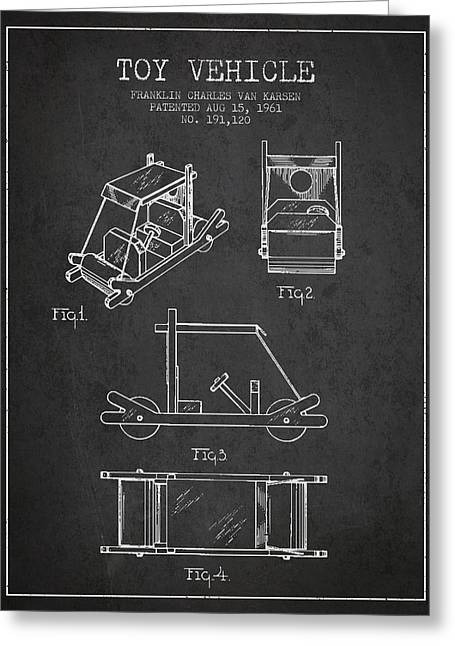 Flintstones Toy Vehicle Patent From 1961 - Charcoal Greeting Card by Aged Pixel