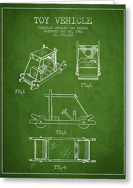 Flintstones Toy Vehicle Patent From 1961 - Green Greeting Card by Aged Pixel