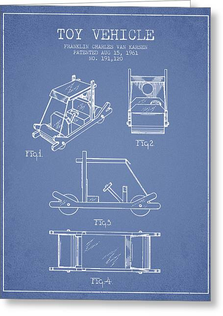 Barney Greeting Cards - Flintstones Toy Vehicle patent from 1961 - Light Blue Greeting Card by Aged Pixel