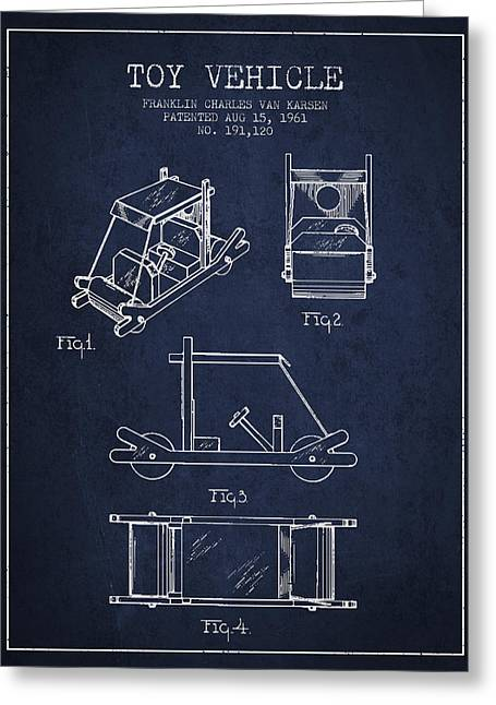 Barney Greeting Cards - Flintstones Toy Vehicle patent from 1961 - Navy Blue Greeting Card by Aged Pixel