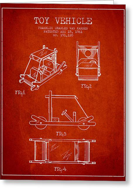 Flintstones Toy Vehicle Patent From 1961 - Red Greeting Card by Aged Pixel