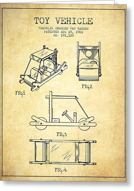 Barney Greeting Cards - Flintstones Toy Vehicle patent from 1961 - Vintage Greeting Card by Aged Pixel
