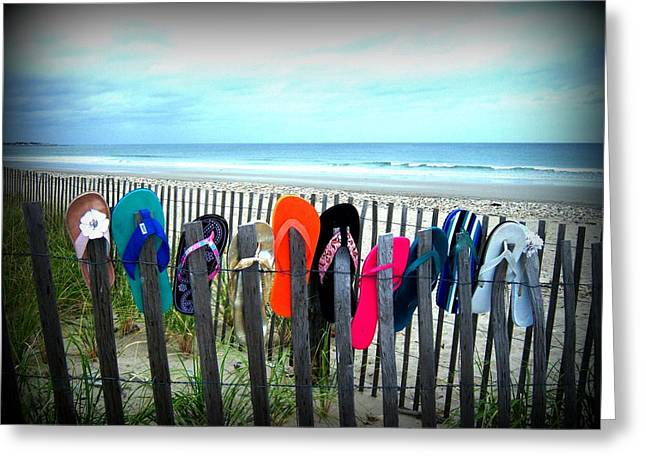 Duxbury Greeting Cards - Flip Flops 2 Greeting Card by Conor Murphy