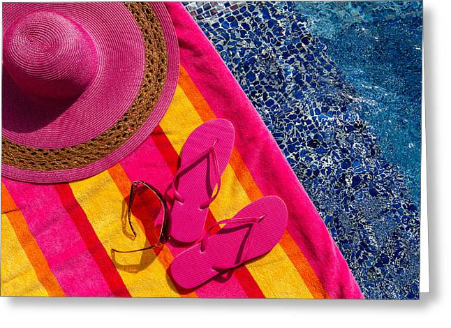 Sun Hat Greeting Cards - Flip Flops by the Pool Greeting Card by Teri Virbickis
