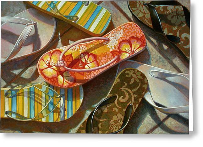 Striped Mixed Media Greeting Cards - Flip Flops Greeting Card by Mia Tavonatti