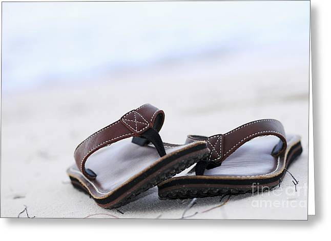 Sandals Greeting Cards - Flip-flops on beach Greeting Card by Elena Elisseeva