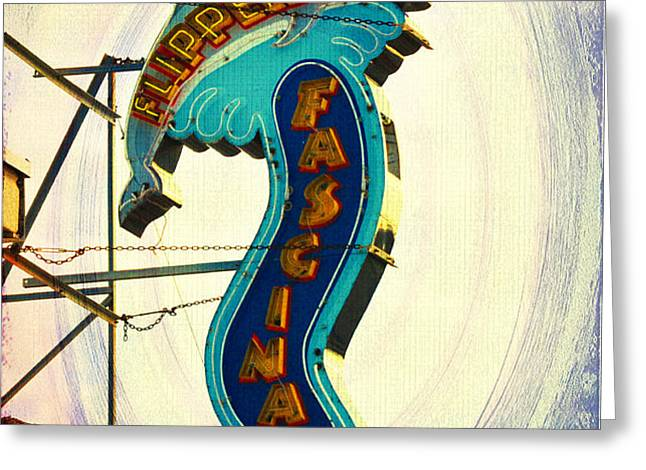 Flippers Facination - Wildwood Boardwalk Greeting Card by Bill Cannon