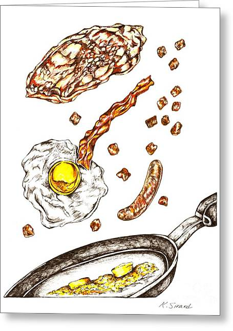 Fries Drawings Greeting Cards - Flippin Breakfast Greeting Card by Karen Sirard