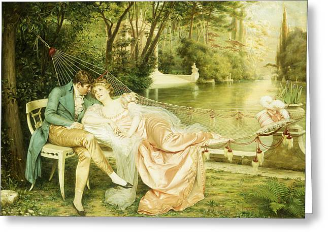 Embrace Greeting Cards - Flirtation  Greeting Card by Joseph Frederick Charles Soulacroix