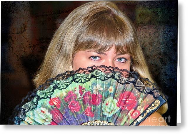 Flirting With The Fan Greeting Card by Mariola Bitner
