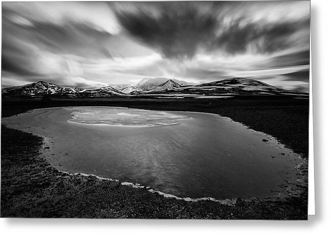 Black And White Mountain Prints Greeting Cards - Fljotsdalshreppur Greeting Card by Dave Bowman