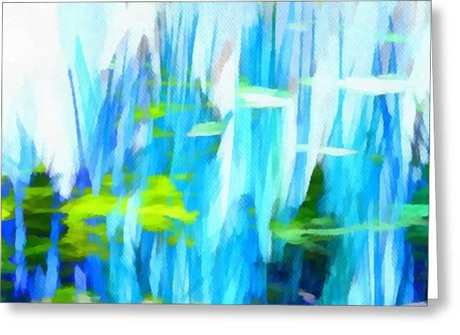 Abstract Digital Mixed Media Greeting Cards - Float 1 Horizontal Greeting Card by Angelina Vick