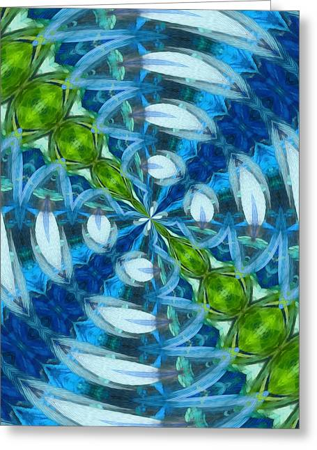 Blue Green Water Greeting Cards - Float 3 Pattern Greeting Card by Angelina Vick
