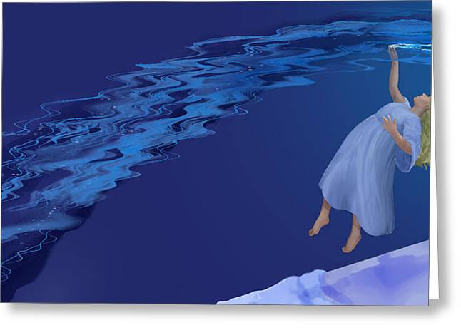 Floating Girl Greeting Cards - Float Downstream Greeting Card by Rick Reason