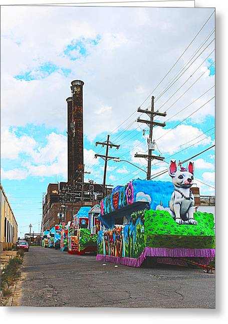 Canal Street Line Greeting Cards - Float Factory Greeting Card by Larry Anderson