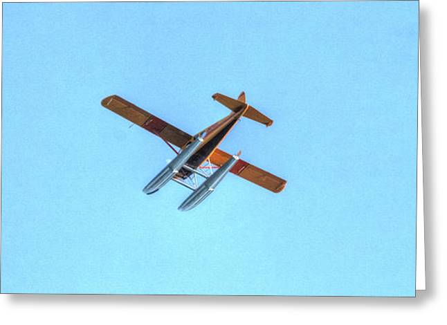 Barnstormer Greeting Cards - Float Plane Fly Over Pacific Northwest Greeting Card by Tap  On Photo