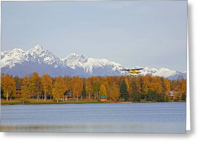 Wasilla Greeting Cards - Float Plane Taking Off From Lake Greeting Card by Calvin Hall