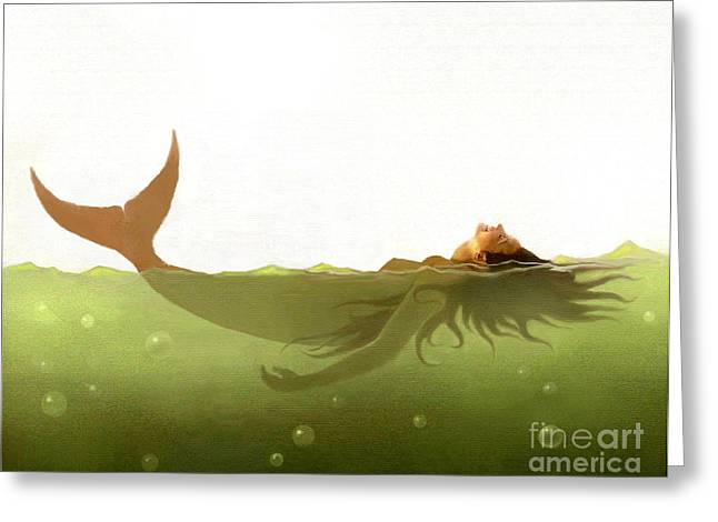 Watercolor Fairytale Greeting Cards - Floater Greeting Card by Robert Foster