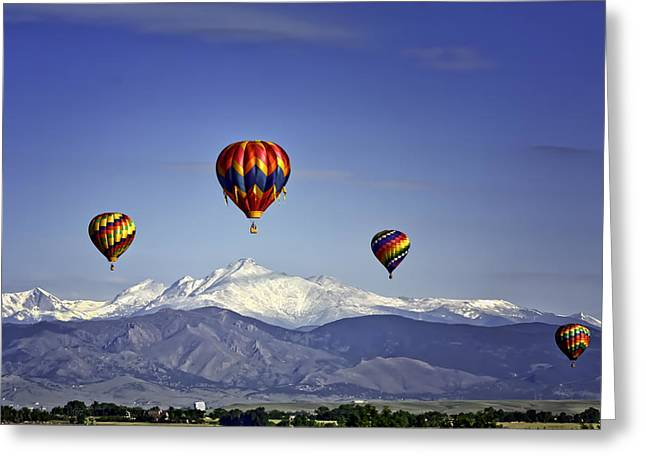 """red Balloon"" Greeting Cards - Floating Above Longs Peak Greeting Card by Teri Virbickis"