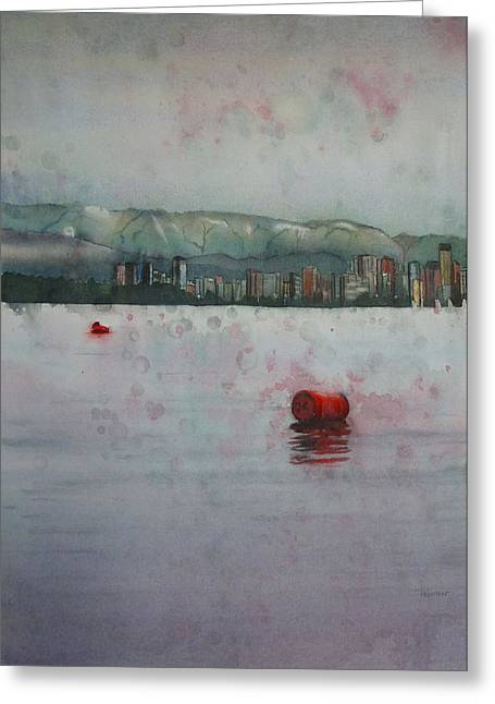 North Vancouver Paintings Greeting Cards - Floating barrels Greeting Card by Sandrine Pelissier