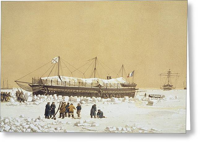 Saw Greeting Cards - Floating Battery La Tonnante In The Ice Greeting Card by A. & Morel-Fatio, A. Bayot