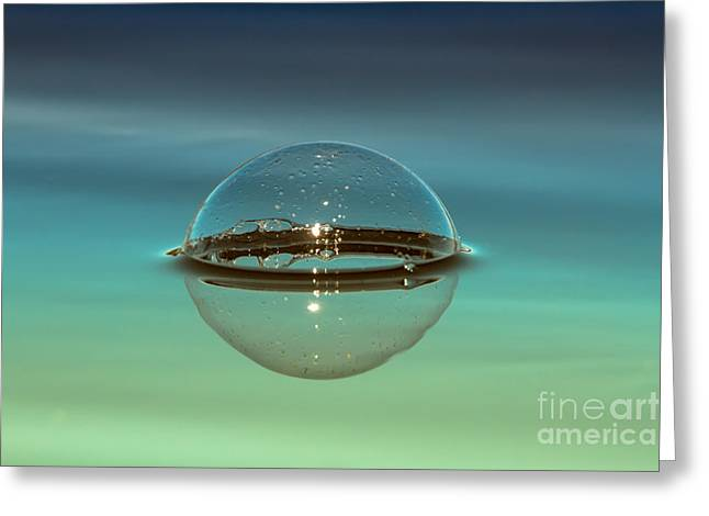 Blue And Green Photographs Greeting Cards - Floating Bubble Greeting Card by Heidi Piccerelli