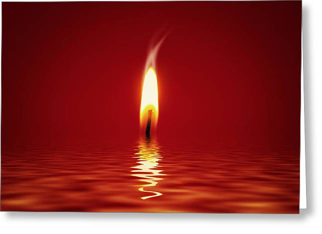 Religious Art Digital Art Greeting Cards - Floating Candlelight Greeting Card by Wim Lanclus