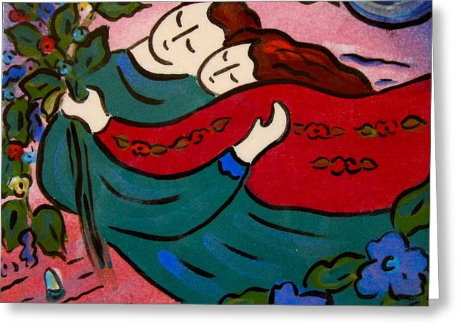 Artist Ceramics Greeting Cards - Floating Couple Greeting Card by Carol Keiser