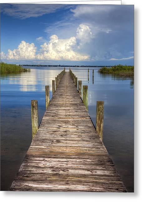 Tropical Beach Greeting Cards - Floating Greeting Card by Debra and Dave Vanderlaan