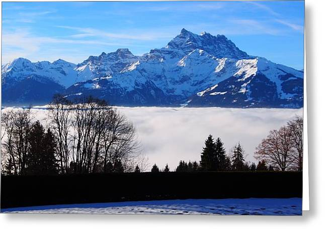 Temperature Inversion Greeting Cards - Floating Dents du Midi Greeting Card by Hilary Rhodes