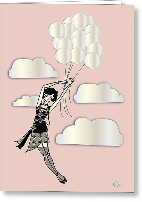 Floating Girl Drawings Greeting Cards - Floating Flapper Gatsby Girl in pink and pearl Greeting Card by Cecely Bloom