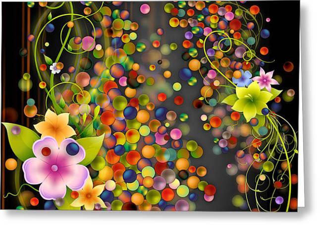 Floating Fragrances - Black Version Greeting Card by Bedros Awak