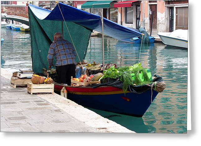 Greengrocer Greeting Cards - Floating greengrocer at Venice Greeting Card by Luca Marchi