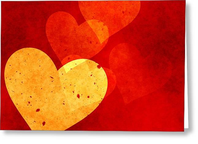 Floating Hearts Greeting Card by Kurt Van Wagner