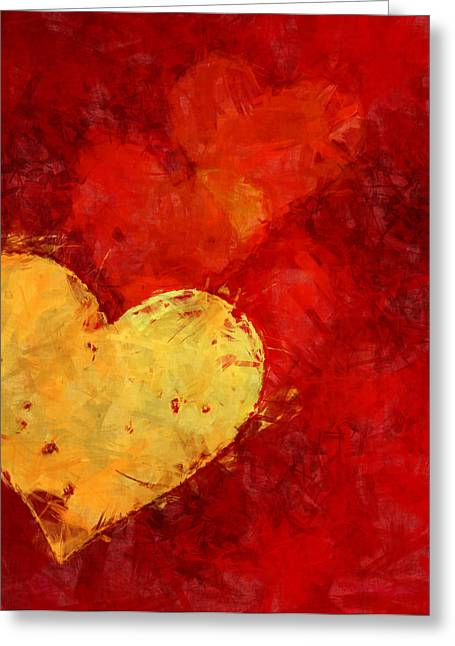 Loving Greeting Cards - Floating Hearts Painted Greeting Card by Kurt Van Wagner