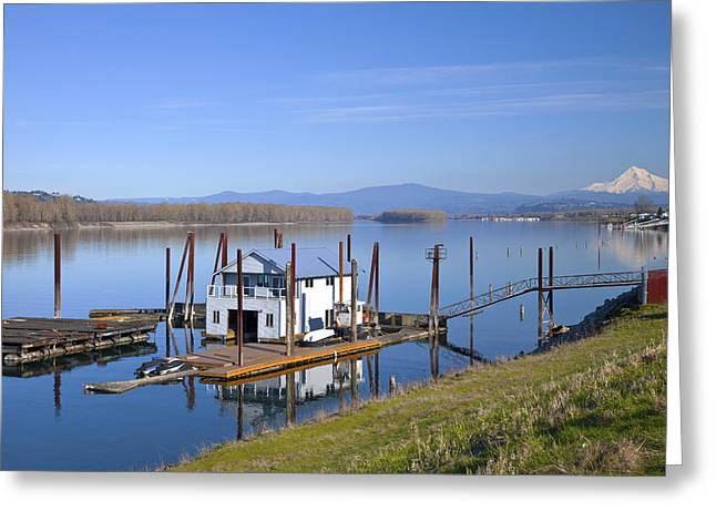 Floating House Greeting Cards - Floating house on the Columbia river 5 Greeting Card by Gino Rigucci