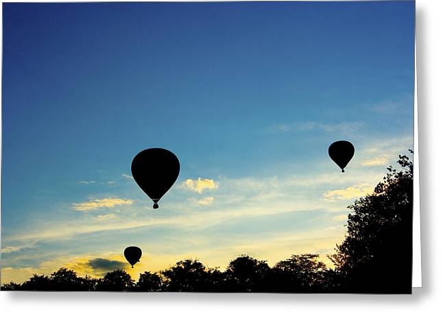 Three Hot Air Balloons Greeting Cards - Floating in the air at sundown Greeting Card by Peter Lloyd