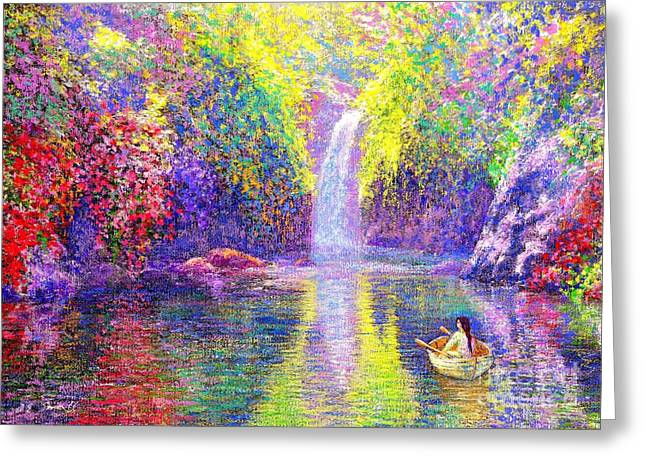 Canoe Waterfall Greeting Cards - Floating Greeting Card by Jane Small