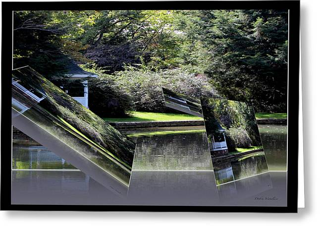 Reflection Of Trees In The Forest Greeting Cards - Floating Landscape B Greeting Card by Debra     Vatalaro