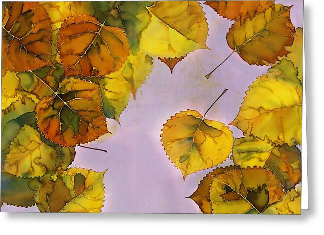 Silk Art Tapestries - Textiles Greeting Cards - Floating Leaves Greeting Card by Carolyn Doe
