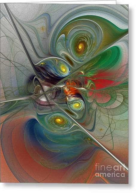 Subtile Greeting Cards - Floating Lightness-Abstract Art Greeting Card by Karin Kuhlmann