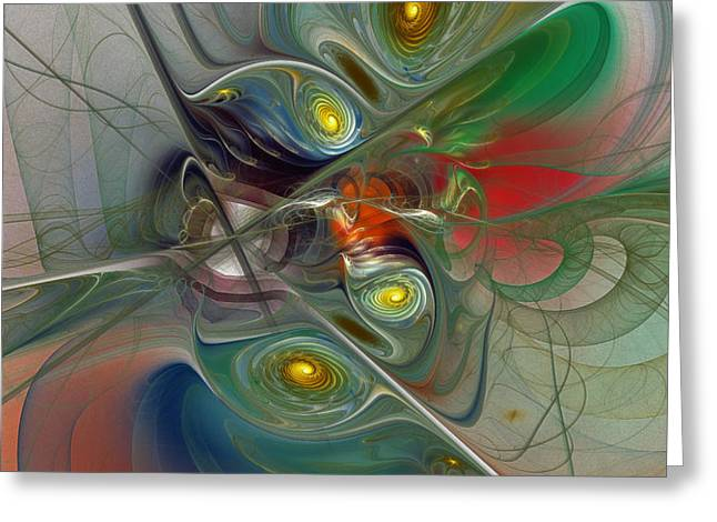 Floating Lightness-Abstract Art Greeting Card by Karin Kuhlmann
