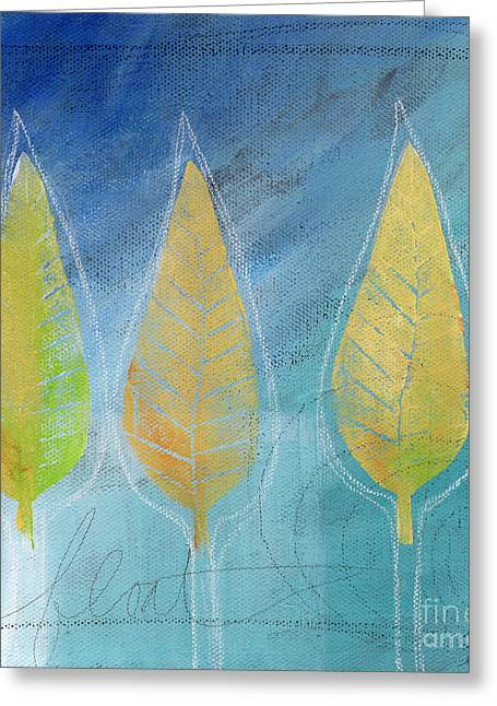 Blues And Yellows Greeting Cards - Floating Greeting Card by Linda Woods