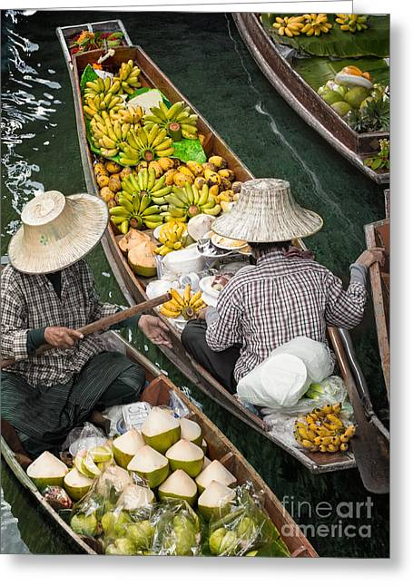 Floating Market  Greeting Card by Anek Suwannaphoom