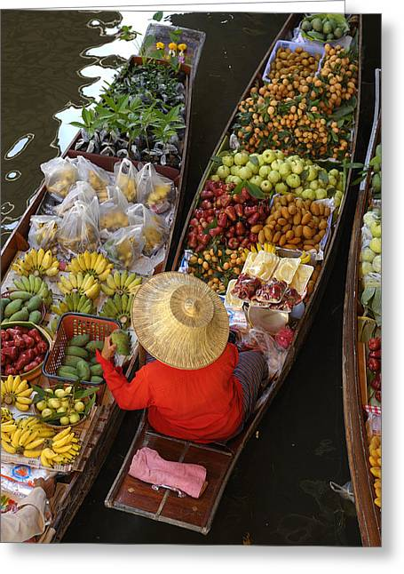 Canoe Photographs Greeting Cards - Floating Market Greeting Card by Christian Heeb