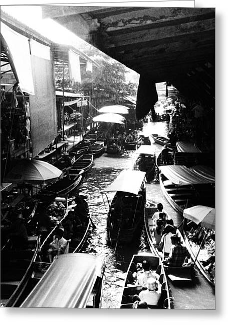 Justin Woodhouse Greeting Cards - Floating Markets in Black and White Greeting Card by Justin Woodhouse