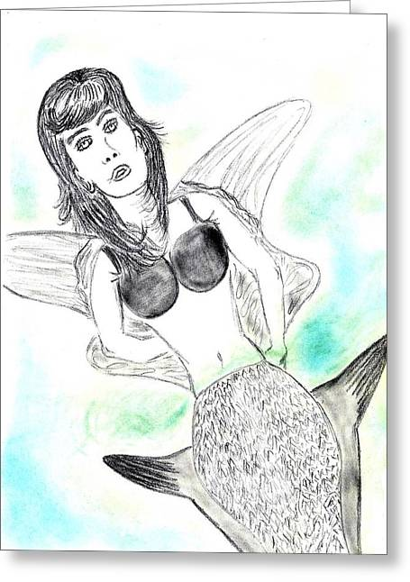 Floating Girl Drawings Greeting Cards - Floating Mermaid Greeting Card by Nicole Burrell